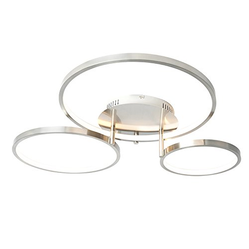 QAZQA - Moderne Deckenleuchte | Deckenlampe | Lampe | Leuchte Stahl | Silber | nickel matt inkl. LED und Dimmer Rondas Dimmer | Dimmbar | Wohnzimmer | Schlafzimmer | Küche - Aluminium Organisch - | (n