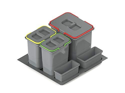 Cubo de basura con 3 compartimentos, sistema de separación de basura, sistema de 3 compartimentos, para armarios de cocina de 60 puertas, 2 x 7 + 1 x 15 litros