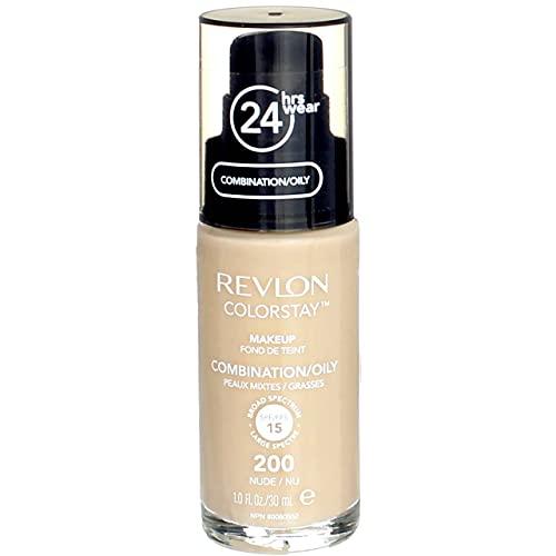 Revlon Colorstay Fond de teint fluide - Peaux Mixtes à Grasses - 200 Nude/Nu - 30ml - Pack de 2