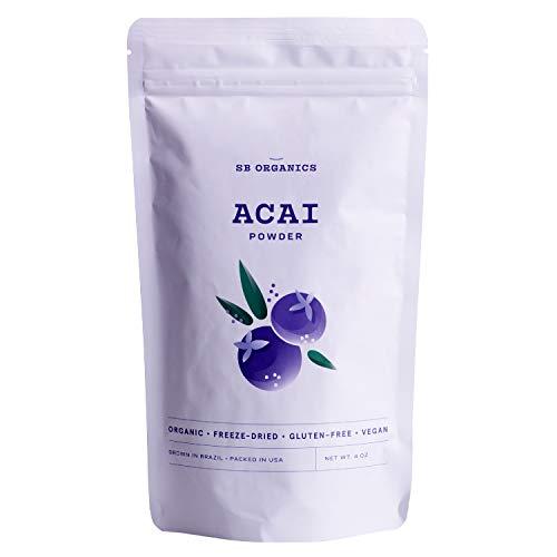 SB Organics Premium Acai Powder - USDA Organic, Non-GMO, Freeze-Dried Berries - Antioxidants, Fiber, Vitamins, and Minerals - 4 oz.