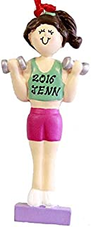 Personalized Weight Lifter Female Brown Christmas Ornament 2018 Free Personalization