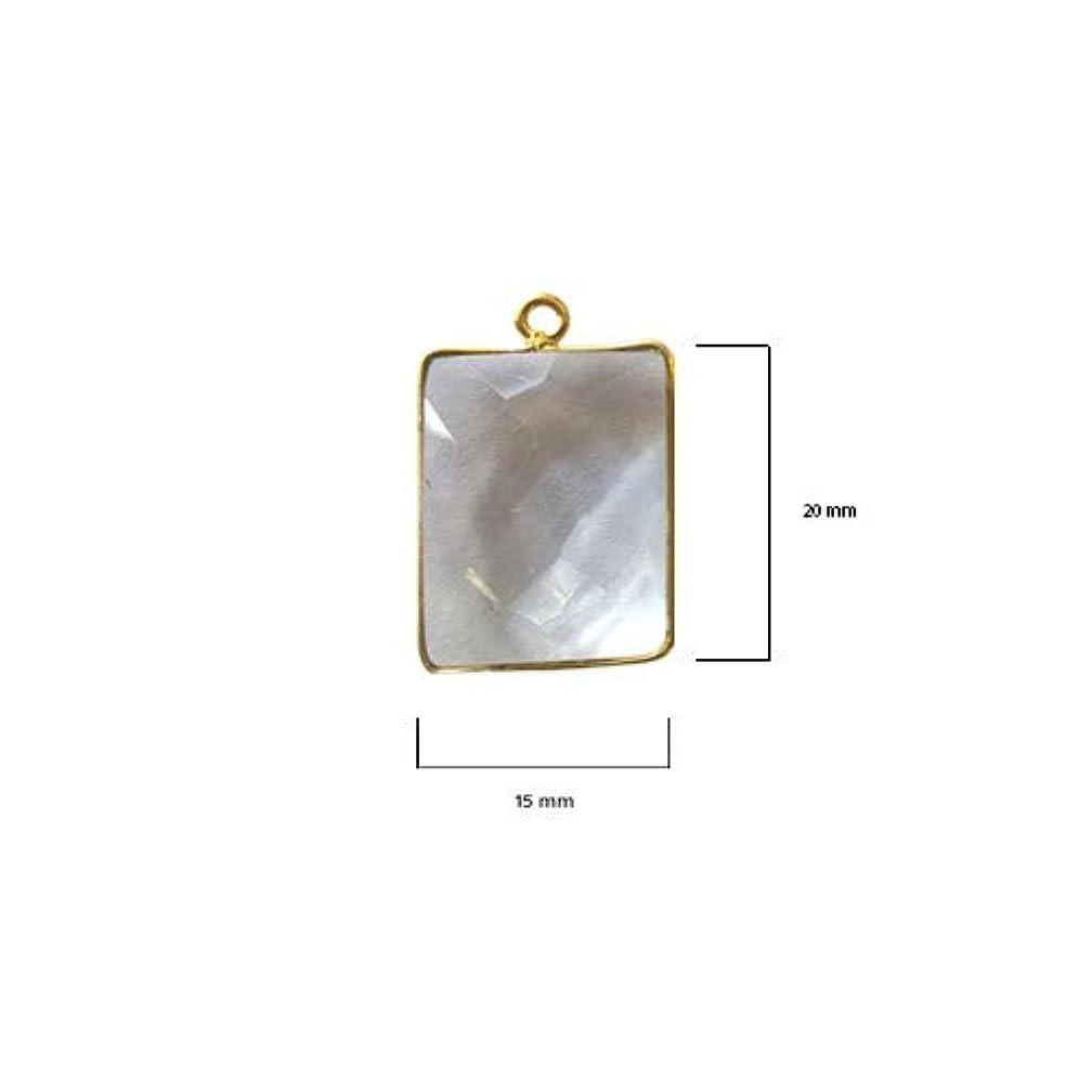 2 Pcs Clear Quartz Rectangle Beads 15X20mm 24K gold vermeil by BESTINBEADS, Clear Hydro Quartz Rectangle Pendant Bezel Gemstone Connectors over 925 sterling silver bezel jewelry making supplies