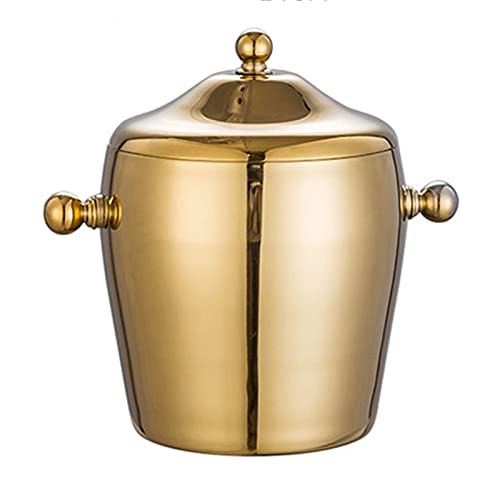 Cubo de hielo para vino Cubo de hielo Cubierta de doble capa de hielo Cubo de hielo de acero inoxidable Champagne Cubo de vino Cerveza Cubierta de hielo ( Color : Gold , Size : Without handle )