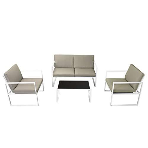 Festnight 4-delige Loungeset met kussens staal Eettafel en stoel salontafel voor eetkamer woonkamer keuken wit