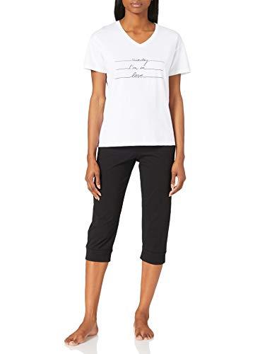 Schiesser Damen Schlafanzug Set 3/4 lange Capri Hose mit passendem kurzen Shirt, schwarz, 40