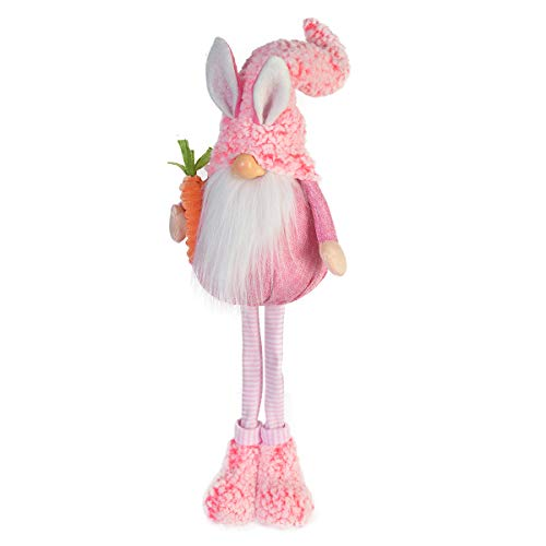 GMOEGEFT Handmade Easter Bunny Decoration Swedish Gnome Plush Rabbit Tomte with Carrot Scandinavian Nisse Standing Figurine Holiday Home Decoration Standing Pink  20 Inches