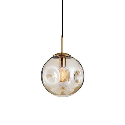 LFses Nordic eenvoudige hanglamp van glas concave lampenkap Creative Elegante Loft hanglamp voor keuken slaapkamer bar café (kleur cognac)