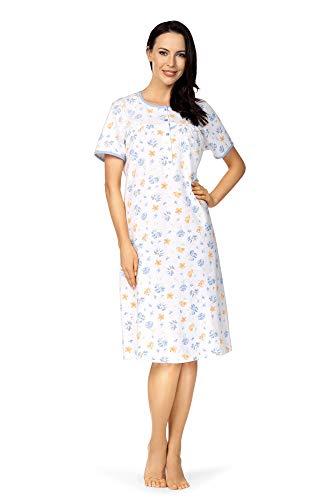 Comtessa Damen Nachthemd kurzer Arm Knopfleiste 201214 100% Baumwolle Taubenblau Gr. 36-38 S