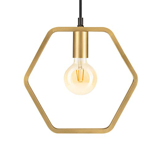 LUUK LIFESTYLE schlichte skandinavische Design Lampe, Vintage Pendelleuchte, Hängeleuchte für E27 Leuchtmittel, Industrial Lampe, ideal für Wohnzimmer, Esszimmer, Büro, matt gold