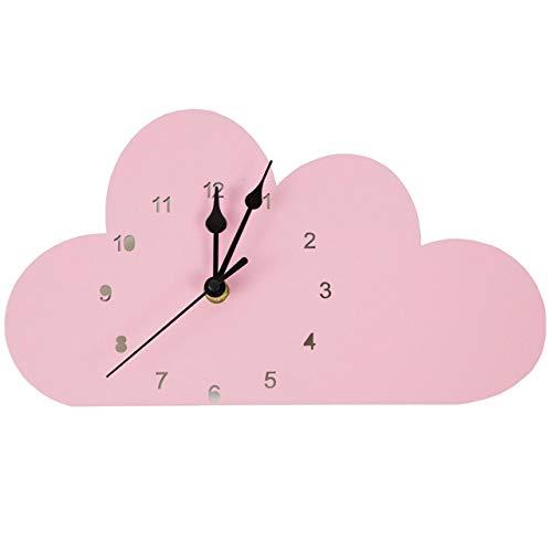 Versier LKU Kamerdecoratie Scandinavische roze wolk wandklok kinderkamer Scandinavische decoratie, Roze