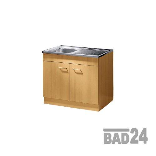Küche-Spülenschrank/ Mehrzweckschrank 80x50 Start Melamin Buche/Buche