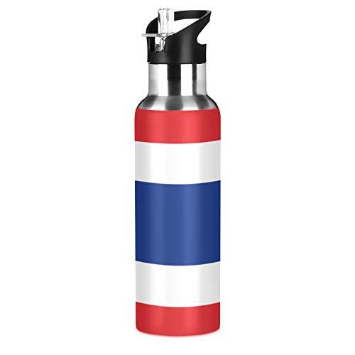 Botella de agua deportiva de la bandera de Tailandia de acero inoxidable 304, botella de agua aislada al vacío con paja (600 ml)