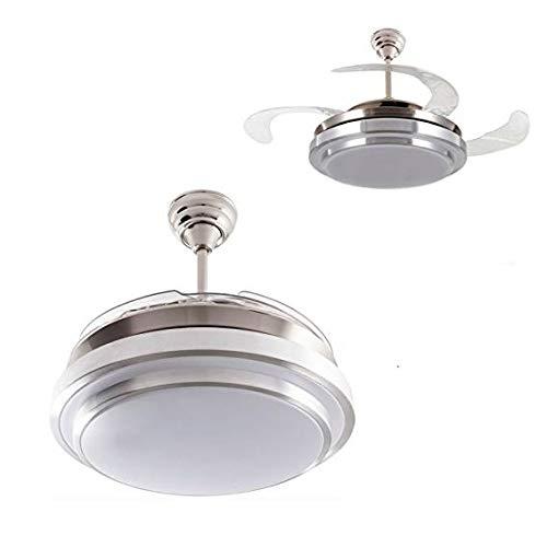 Ventilador de techo mod. Selene con LED incorporado y mando a distancia, 107 cm. acabado cromo y blanco con 4 aspas transparentes, AkunaDecor