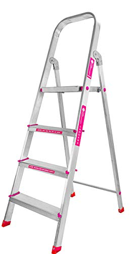 Casa Copenhagen, Silver Boy- Ultra-Stable 4-Step Foldable Aluminium Ladder 130 cm (4.25 ft.) with 5-Year Warranty,Top Platform Size 10 inch X 10 inch & Step Size 14,15,16 Inches