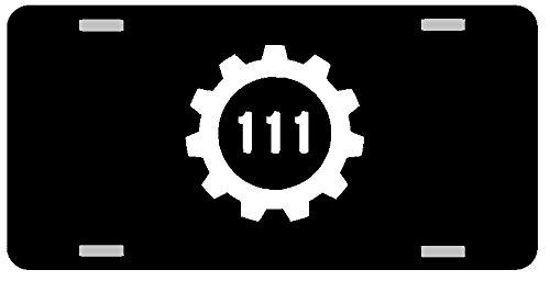 Vault 111 Fallout Logo License Plate Gloss black