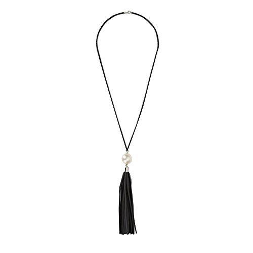 Contever® Mode Longue Noir Chaîne Chandail Colliers avec Blanc Perle et Glands en Cuir aux femmes Charm Bijoux (Noir Glands)