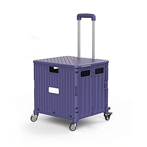 GUOQI Armario de Picnic, Armario de Camping, Caja de Almacenamiento de Camping, Gran Espacio, Potente función de Plegado, con Cuatro Ruedas/asa de Metal de Alta Resistencia Purple-65L