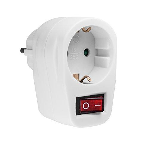 kj-vertrieb Steckdose mit Schalter - erhöhter Berührungsschutz - Stromsparen - Schutzkontakt-Schalter - Schutzkontaktsteckdose mit Schalter - Steckdosenschalter