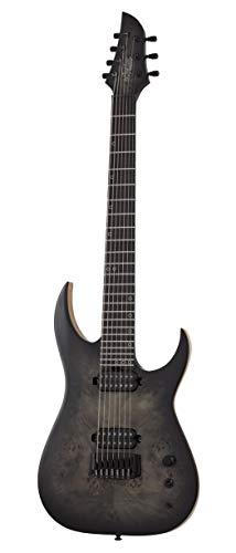 Schecter Guitar Research 7 Saiten Solid Body E-Gitarre rechts, Trans Black Burst, Full (304)
