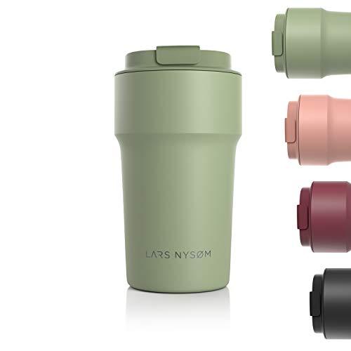 LARS NYSØM Thermo Kaffeebecher-to-go 500ml   BPA-freier Travel Mug 0.5 Liter mit Isolierung   Auslaufsicherer Edelstahl Thermobecher für Kaffee und Tee unterwegs   Teebecher (Sage)