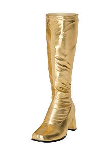 Buckle Shoes BS12733 Damen-GoGo-Stiefel, 1960er-/1970er-Retro-Look, Gold - Goldfarbenes Lack. - Größe: 41 EU