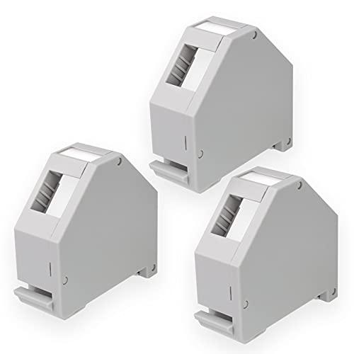 hb-digital 3X Hutschienenadapter RJ45 Keystone Halterung für Hutschiene 35mm geeignet für Keystonemodule Cat.5e Cat.6/6a Cat.8 Netzwerk Buchse Ethernet LAN Verlegekabel Montage