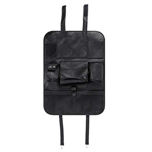 Hbao 4 Carga USB Universal PU Cuero Calidad Asiento de Coche Bolsa de Almacenamiento Trasera Organizador Plegable Multi Bolsillos Soporte para tabletas para (Color : Black)