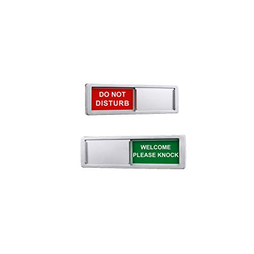 Privacy Sign,Do Not Disturb Welcome Please knock Sign for Home Office Restroom Conference Hotel Hospital,Non-Scratch Magnetic Slider Privacy Indicator Sign,7'' x 2''