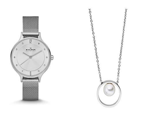 Skagen Damen-Uhren SKW2149 + Skagen Damen - Edelstahl Rund Perlen