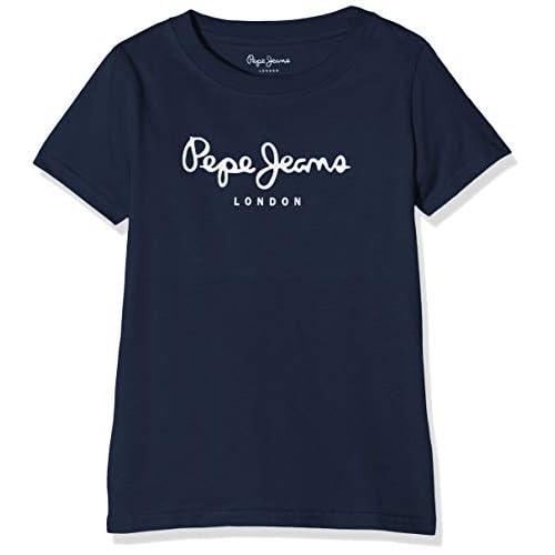 Pepe Jeans Art T-Shirt, Blu (Navy 595), 9-10 Anni Bambino