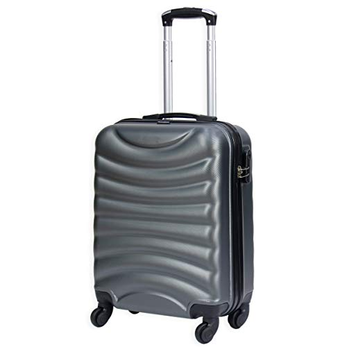 Lightweight 4 Wheel Hard Shell Luggage Suitcase Rynair Cabin Travel Bag - ABS822 (Grey)