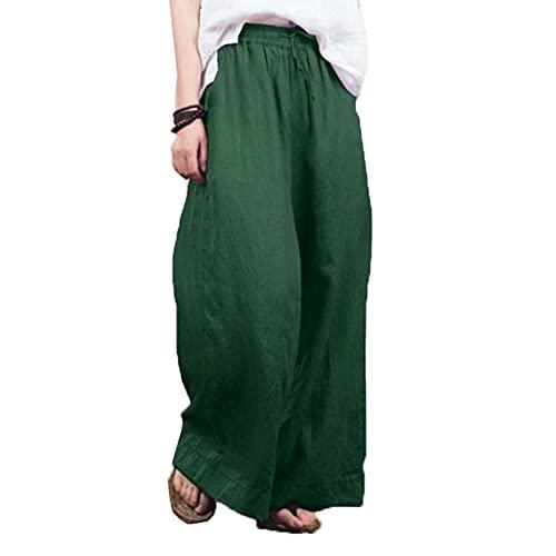 Pantalones Holgados De Pierna Ancha para Mujer Pantalones De Lino Y AlgodóN De Temperamento De Moda Mujer