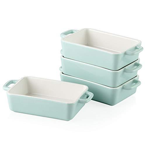 LOVECASA Auflaufform Porzellan, Backform Kuchenform, 4-teilige Mini Soufflé Förmchen Ofenformen für Crème Brûlée Dessert Souffle, rechteckig, 200ML