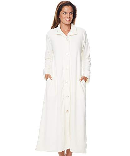 AmeriMark Women's Lightweight Bath Robe – Floor Length Robe w/Oversize Buttons Ivory 1X(16W-18W)