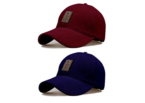 Bolax Combo ediko caps Blue and Maroon caps for Men Pack of 2 (Free Size)