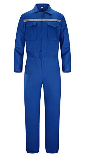 Yukirtiq Hombre Multibolsillos Pantalones con Peto de Trabajo de Manga Larga Cómodo y Resistente Mono de Trabajo al Aceite para Mecánicos (Azul marino, M)