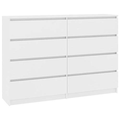 Festnight Sideboard mit 8 Schubladen Kommode Schrank Anrichte Highboard Standschrank Weiß 140×35×79 cm Spanplatte