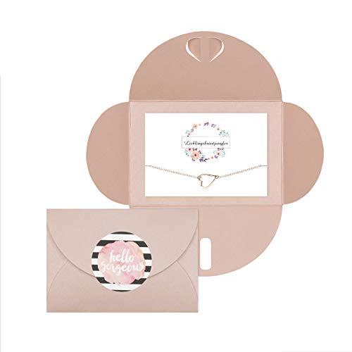 Lillyville - Brautjungfern Geschenk mit Herz Armband Rosegold und Karte - Lieblingsbrautjungfer - Hochzeit Einladung, Bracelet - Umschlag Rosa