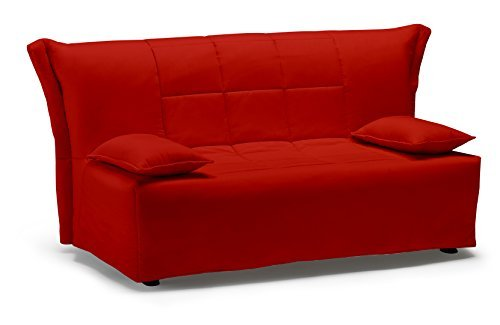 Divano letto Open matrimoniale, prontoletto con rivestimento in cotone rosso