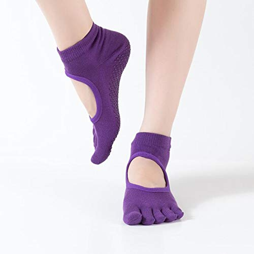 FANHUA Women Yoga Socks Backless Five Fingers Socks Gym Fitness Sport Pilates Dance Ballet Non Slip 5 Toe Cotton Socks Footwear Woman (Color : D)