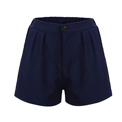 RAINED-Women's Linen Shorts Summer Comfortable Culottes Elastic Waist Wide Leg Pocket Casual Solid Color Shorts