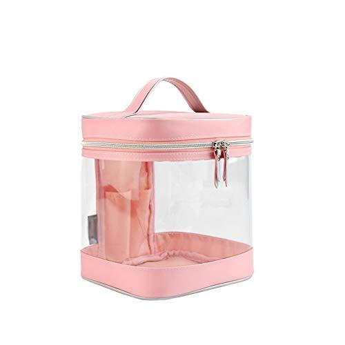Transparent Thick PVC Grand Sac Cosmétique Sac Portable Produits De Soins De La Peau Voyage Sac De Rangement Cosmétique Case Femelle (Color : Pink)