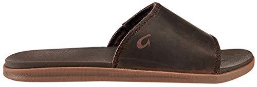 OLUKAI Men's Alania Slide Sandals, Dark Wood/Dark Wood, 7 M US