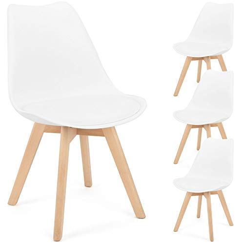 Retro Mid Century Modern Dining Chair Upholstered Side Chair Durable PU Cushion with Beech Wood Legs and Soft Padded Shell Tulip Chair for Dining Room Living Room Bedroom Kitchen Set of 4