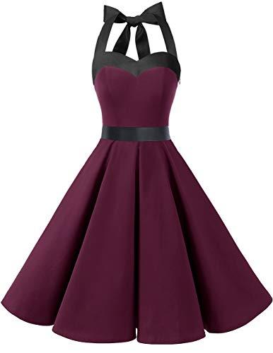 DRESSTELLS Damen Neckholder 1950er Vintage Retro Rockabilly Kleider Petticoat Faltenrock Cocktail Festliche Kleider Burgundy Black XL