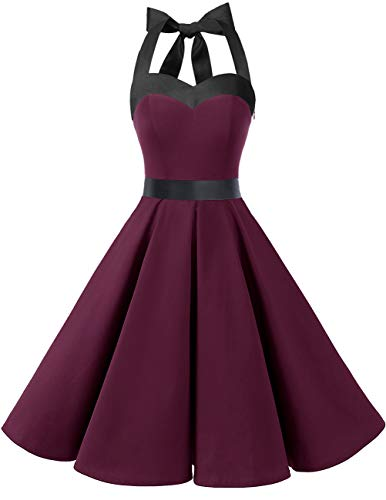 Dresstells® Halter 50s Rockabilly Polka Dots Audrey Dress Retro Cocktail Dress Burgundy Black XS