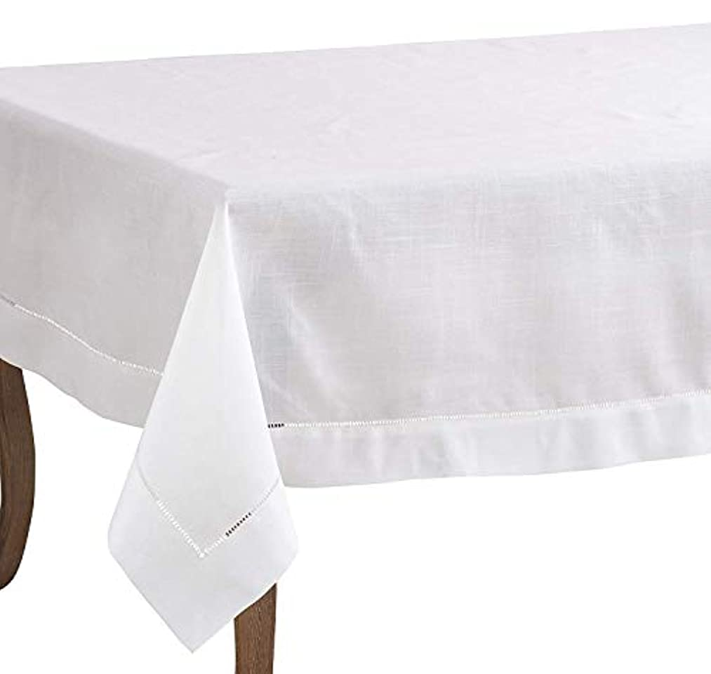 Fennco Styles Rochester Collection Classic Solid Color Hemstitch Border Tablecloth for Dining Table, Banquet, Wedding, Family Dinner 70 x120 Inch, White