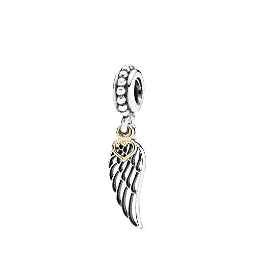 DIAN Jewellery Love & Guidance Pendant Charm 925 Sterling Silver - Bracelet Pendant Charm Fits European Charms Bracelet - Happy Anniversary Gift, Angel Wing and Gold Plated Silver Heart