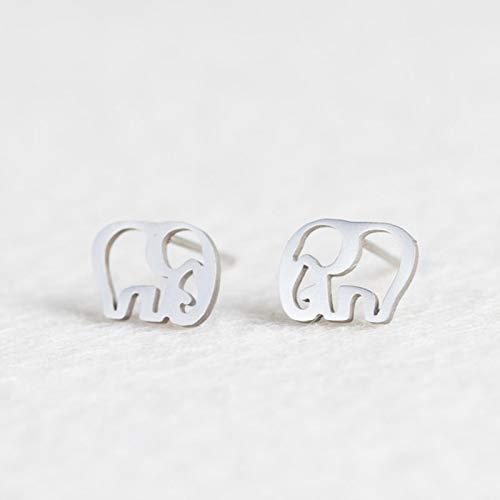AQUALITYS Stainless Steel Animal Heart Star Moon Stud Earrings for Women Korean Minimalist Earrings Jewelry Accessories-Elephant