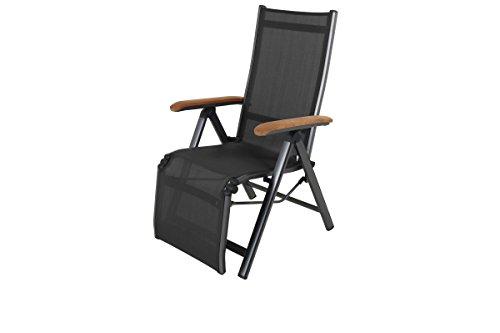 MWH exklusiver Relaxsessel Core Reno in anthrazit schwarz aus Aluminium, Sitzfläche aus hochwertigem Kunststoff, 77,5 x 62 x 108,5 cm, Teak-Armlehnen, Rückenlehne und Fußteil verstellbar, klappbar